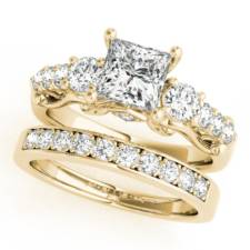 Princess Cut Diamond three stone wedding set