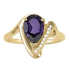 Pear Amethyst and Diamond ring
