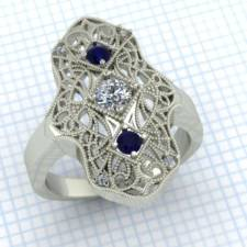 Custom diamond and sapphire filigree ring