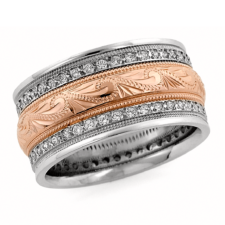 mens two tone diamond wedding band