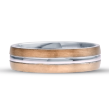 Mens two tone wedding band